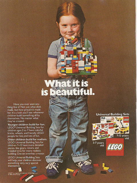 1981. Love this ad. Before girls were told that every single last thing in their life needed to be pink.Lego 1981. Love this ad. Before girls were told that every single last thing in their life needed to be pink.