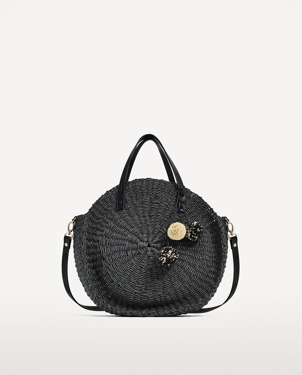 BRAIDED TOTE BAG WITH POMPOMS-Woven bags-BAGS-WOMAN  c6d9094c03f9d