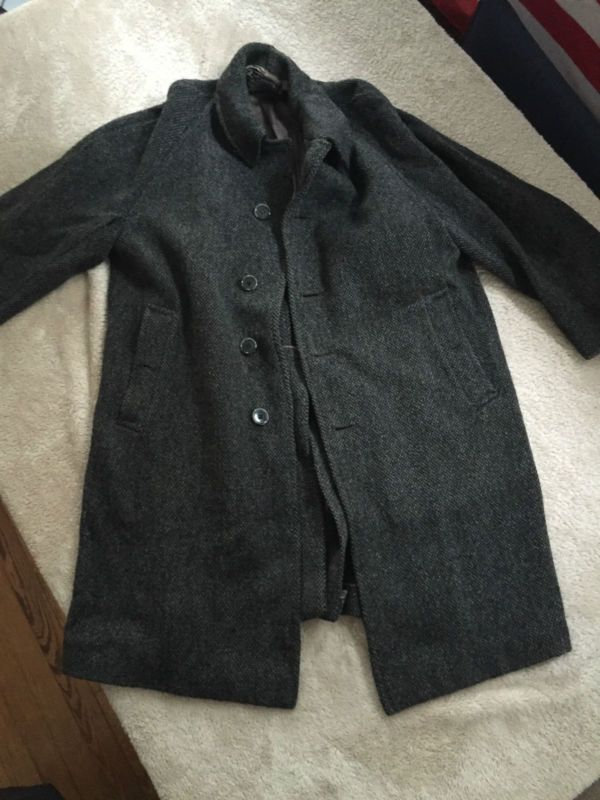 Designer Pea Coat | Vintage Burberry Burberrys Tweed Wool Long Peacoat Coat Pre Owned