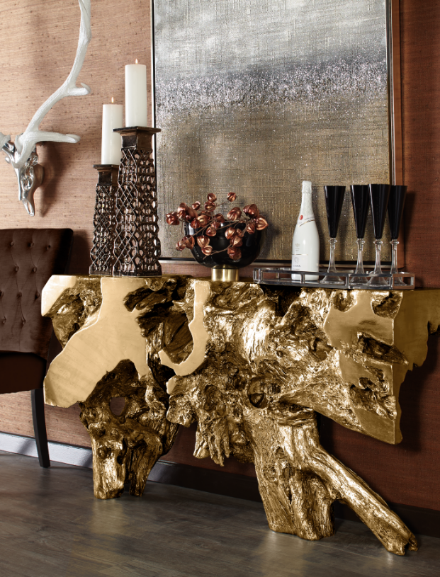Sequoia Console Table In Gold Decor Home Decor Foyer