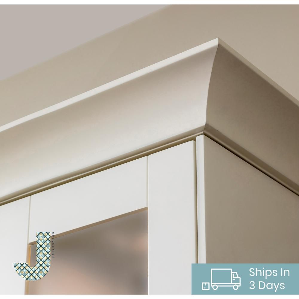 J Collection 96 In X 3 25 In X 5 In Cove Crown Molding With Integrated Cleated In Vanilla White Ccm96 Ws The Home Depot In 2020 Crown Molding Kitchen Crown Moulding Kitchen