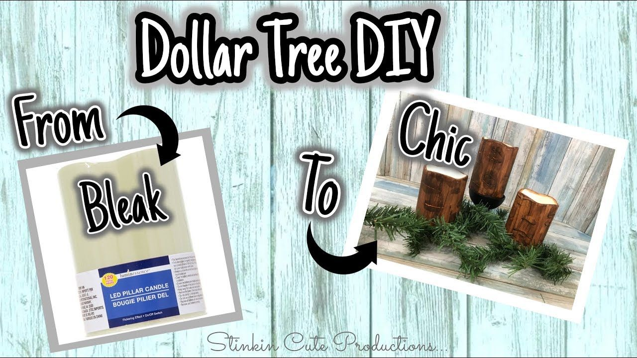 From Bleak To Chic Dollar Tree Diy Youtube Wood Look Candles Apply The Brown Paint In The Same Direc Diy Dollar Tree Decor Dollar Tree Diy Dollar Store Diy