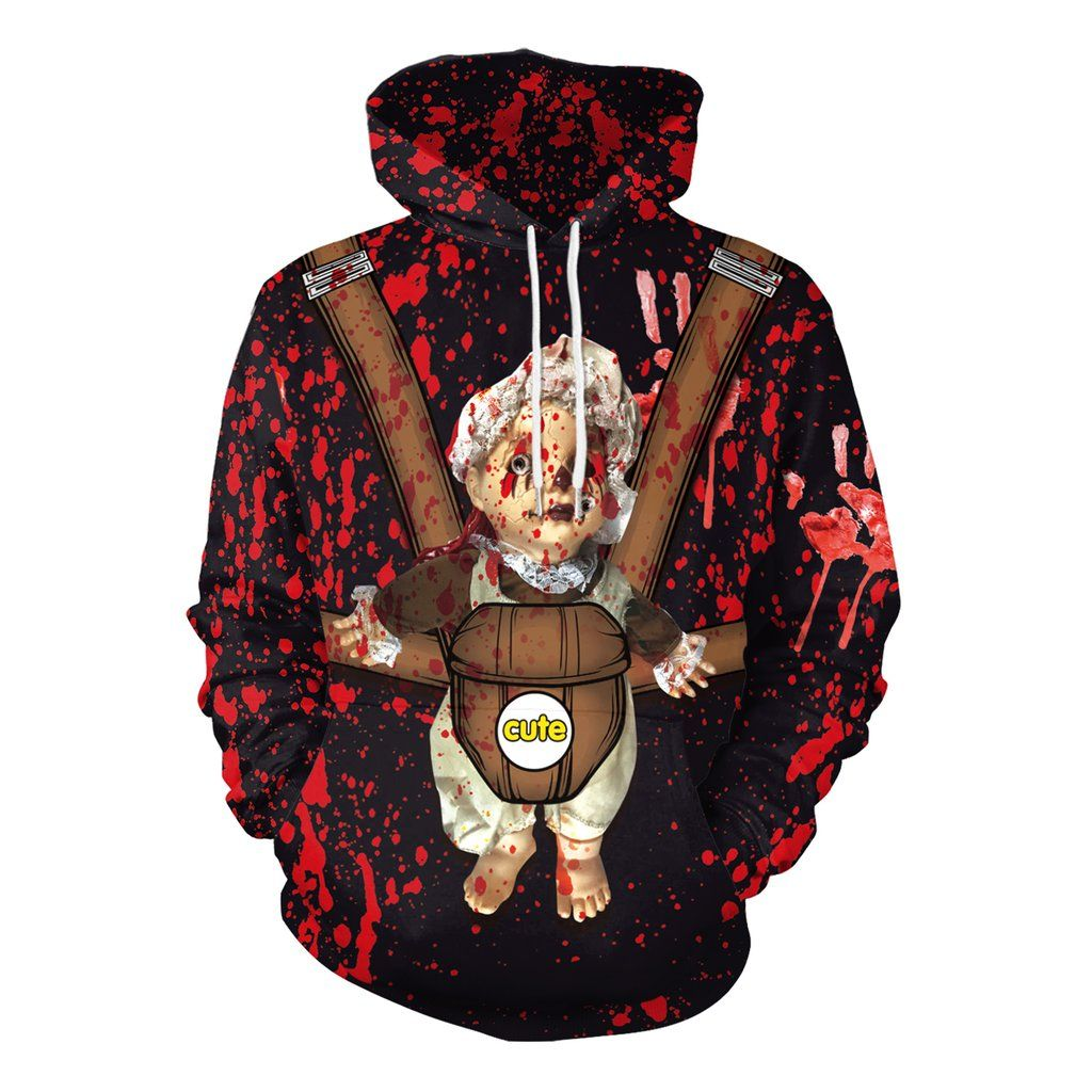Halloween ghost doll round neck hoodie halloween prints