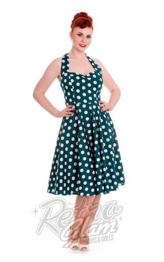 Hell Bunny Mariam Polka Dot Halter Dress in Teal