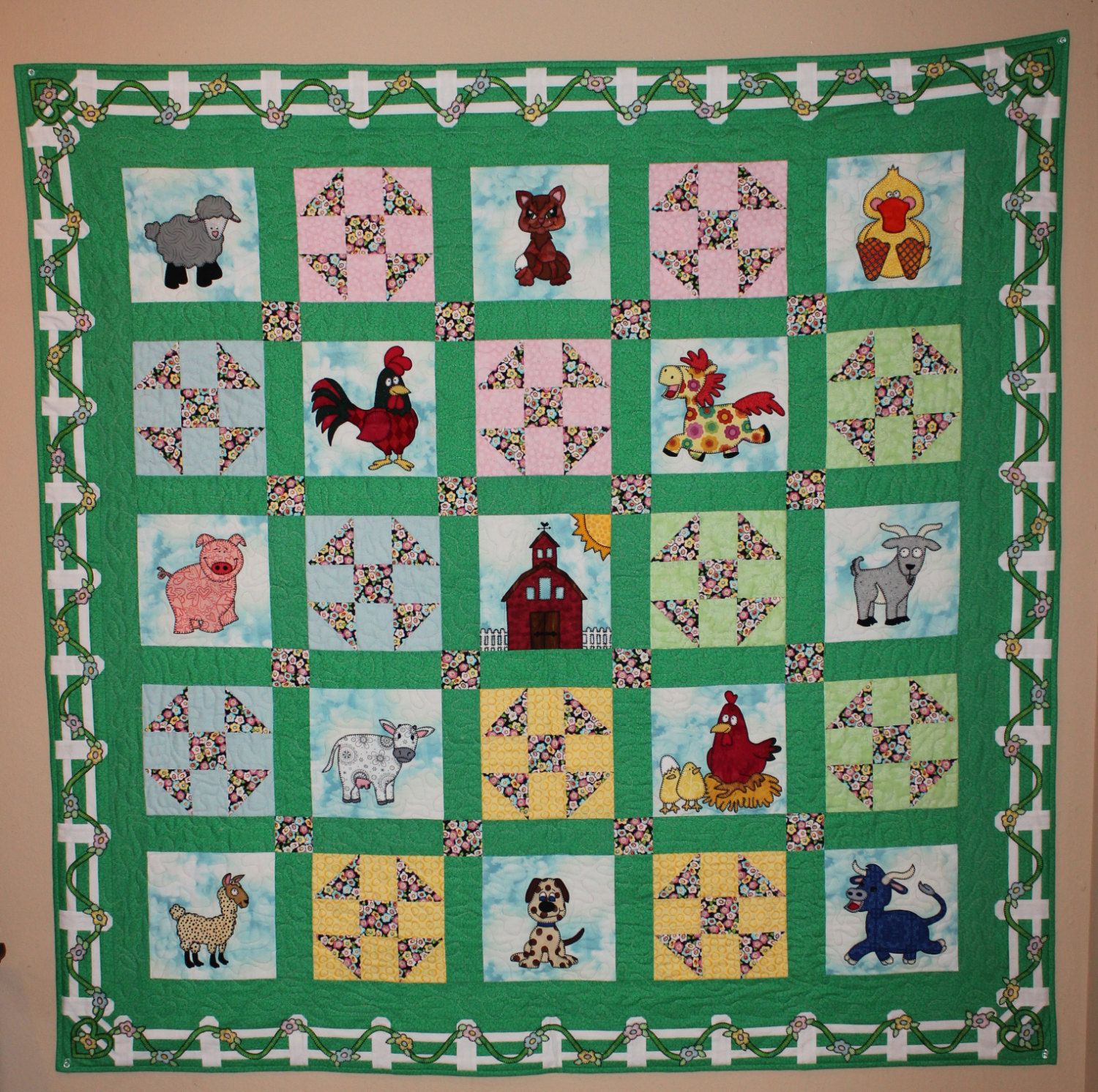 Farm animal applique PDF baby or childs quilt pattern; cat dog duck ...