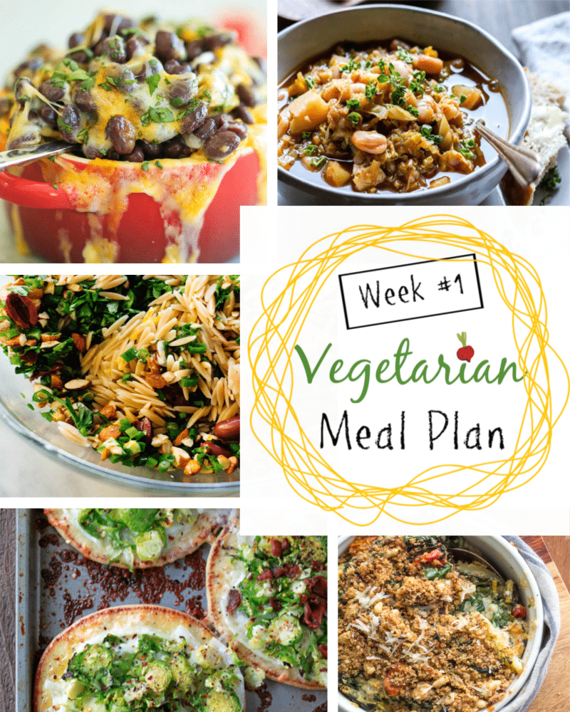 Weekly Vegetarian Dinner Meal Plan + Tips for Omnivores Weekly vegetarian dinner meal plans with tips for adjusting the dishes for omnivores. Week 1 offers a Swiss Chard Gratin, a White Bean Cabbage Soup, a Winter Orange, Feta, Olive Salad, a Mexican night, and Brussels Sprouts Pizza.