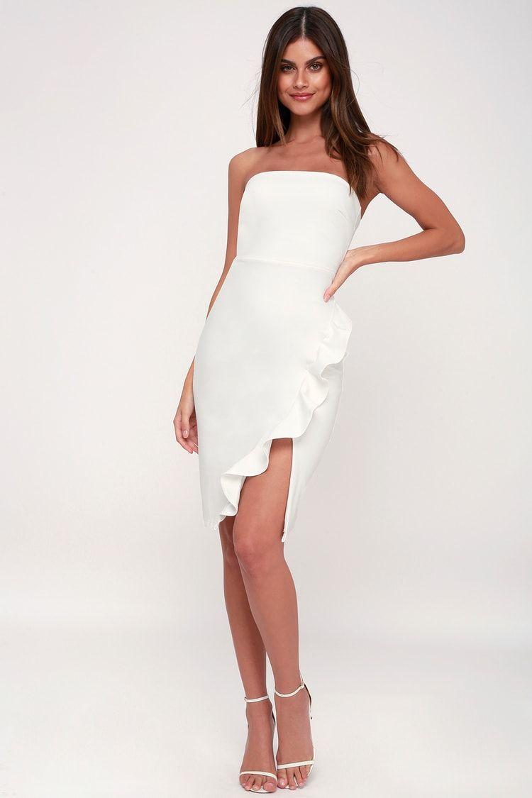 Anika White Ruffled Strapless Bodycon Dress Bodycon Dress Dresses Strapless Bodycon Dress [ 1125 x 750 Pixel ]