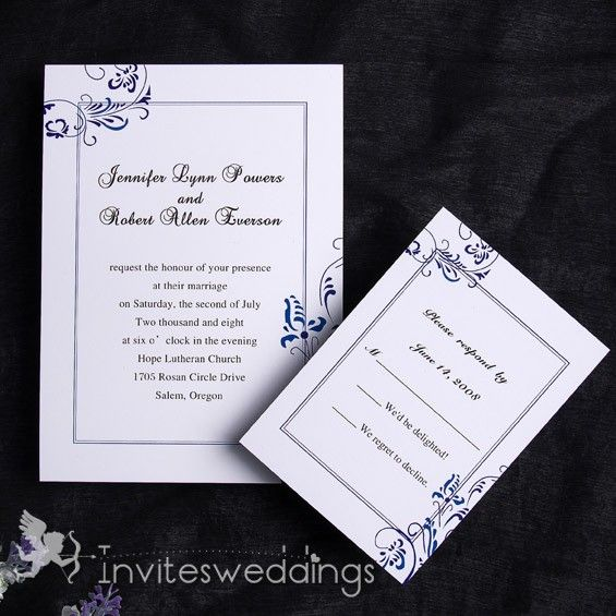 Subtle Blue White Wedding Invitation Iwi107