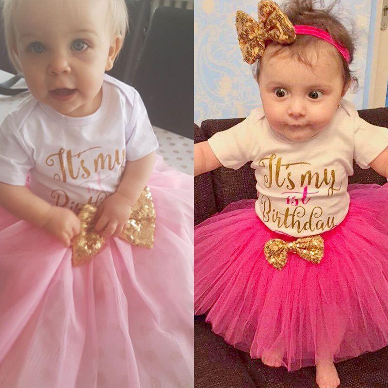 19ca26c4025 TOPATY 2018 Brand New Baby Girls Birthday cupcake Falda Conjuntos de  algodón puro de la camiseta
