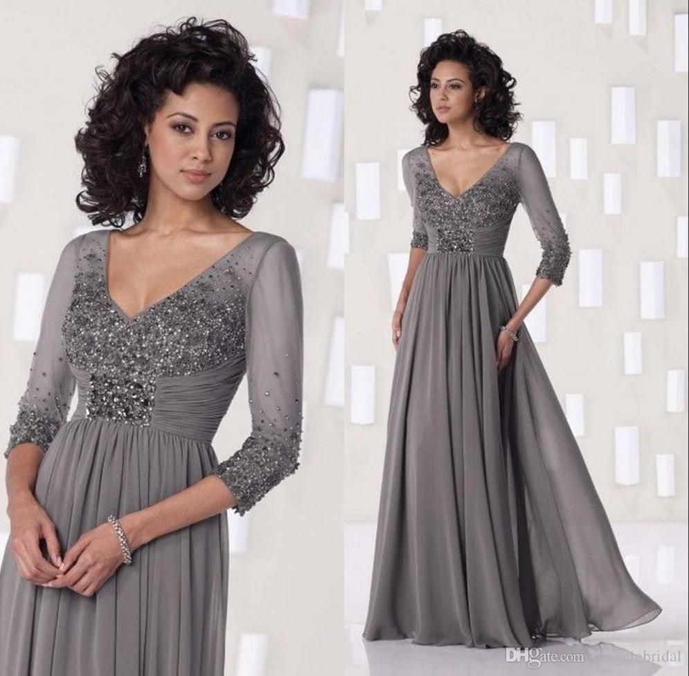 Grey Chiffon Long 2015 Mother Of The Bride Long Sleeve Dresses ...