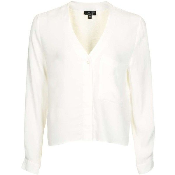 Topshop Long Sleeve Slouchy Blouse (110 BRL) ❤ liked on Polyvore featuring tops, blouses, v neck long sleeve shirt, white v neck shirt, crop shirt, white crop top and white crop shirt