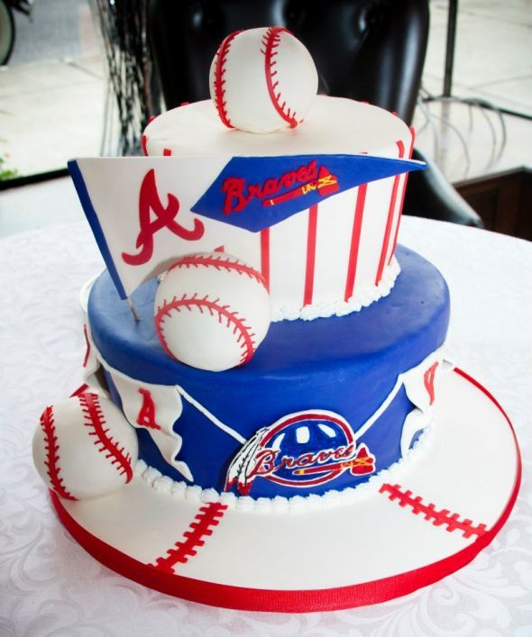 Wedding Cake And Groom S Braves Cake Weddingbee Photo Gallery Baseball Birthday Cakes Brave Cakes Brave Birthday Cakes