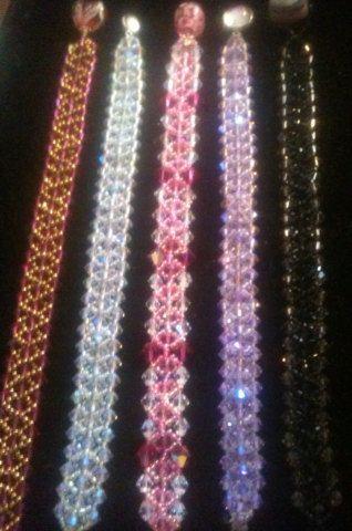 Iridescent Pink Crystal and Maroon Swarovski by Seedbeadlover, $35.00