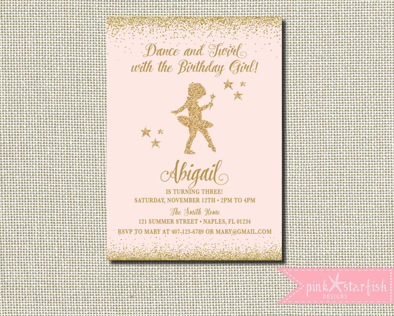 Ballerina Invitation, Ballerina Birthday,Pink and Gold Tutu Birthday ...