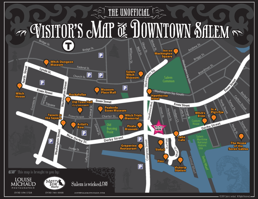 Places To Walk Around In Boston On Halloween 2020 Visitors Map of Downtown Salem MA | Salem massachusetts travel