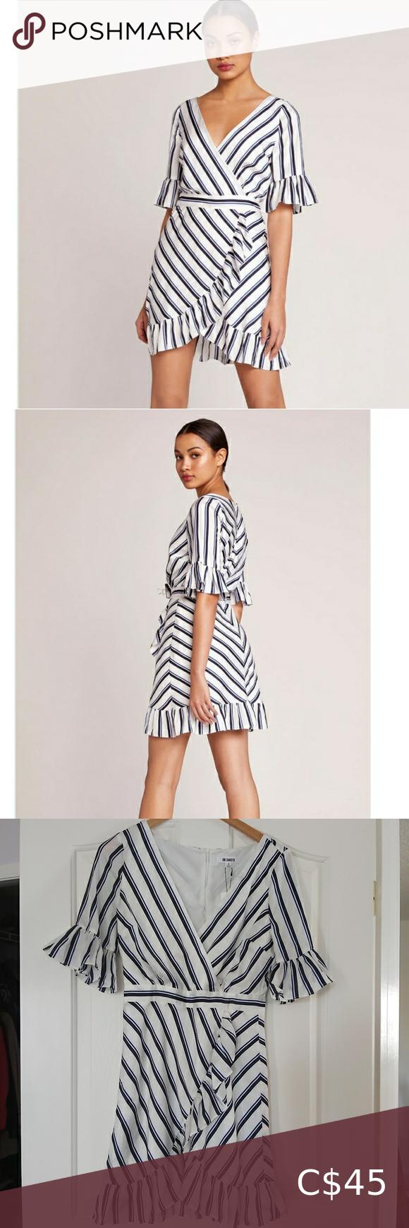 NWT BB Dakota Striped Ruffle Dress