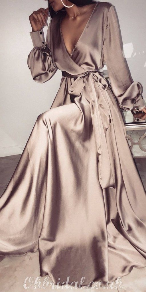 Photo of Charming A-line Long Sleeve Deep V-neck Long Prom Dress, FC2182
