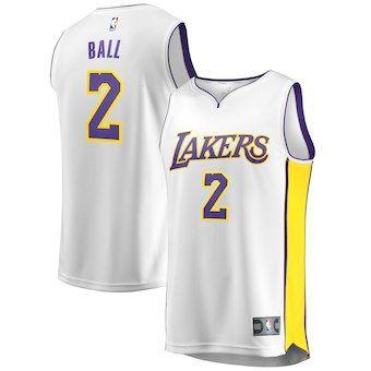 29b40ebd Lonzo Ball Los Angeles Lakers Fanatics Branded Youth Fast Break Replica  Jersey White - Association Edition