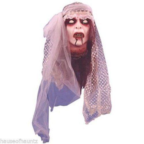 Vampire Bride Head Halloween Prop Wedding Zombie Walking Dead Graveyard Haunted