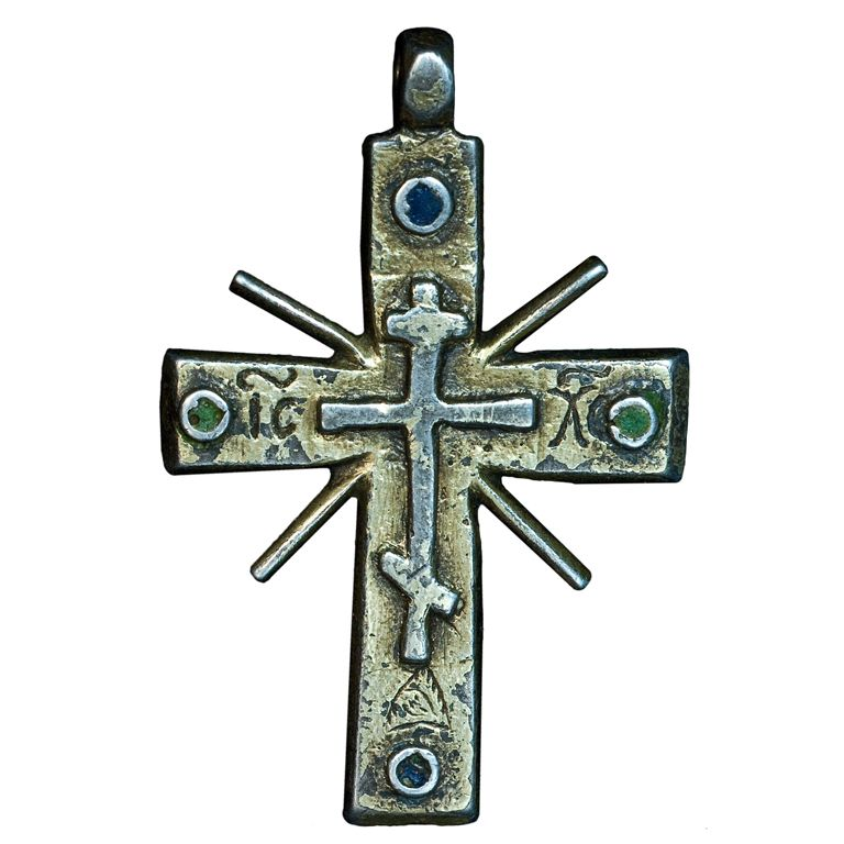 Medieval Russian Cross Pendant c. 1550  This large gilded silver and enamel eight pointed cross pendant is from the reign of Czar Ivan the Terrible (1530-1584).