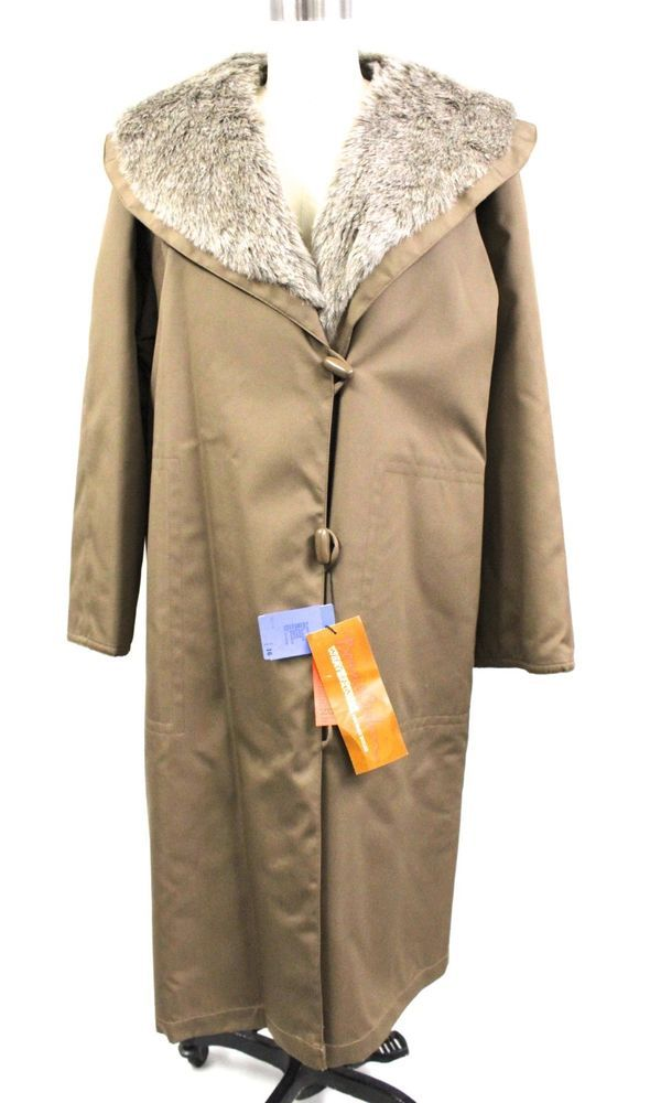 BONNIE CASHIN Weatherwear VTG Mod Faux Fur Lined Raincoat Over Coat 16 Plus NWT  | eBay