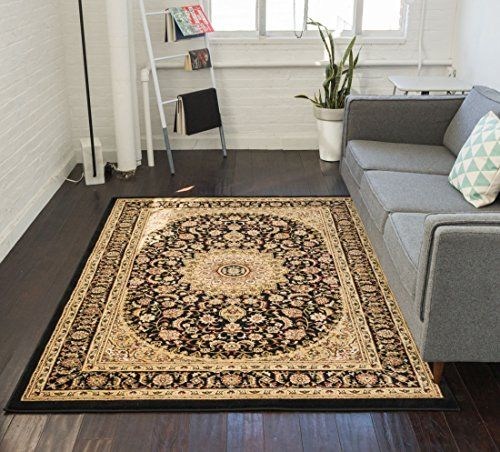 Sultan Medallion Black Oriental Area Rug Persian Floral Traditional Easy Clean Stain Fade Resistant Shed Free Black Area Rugs Oriental Area Rugs Area Room Rugs