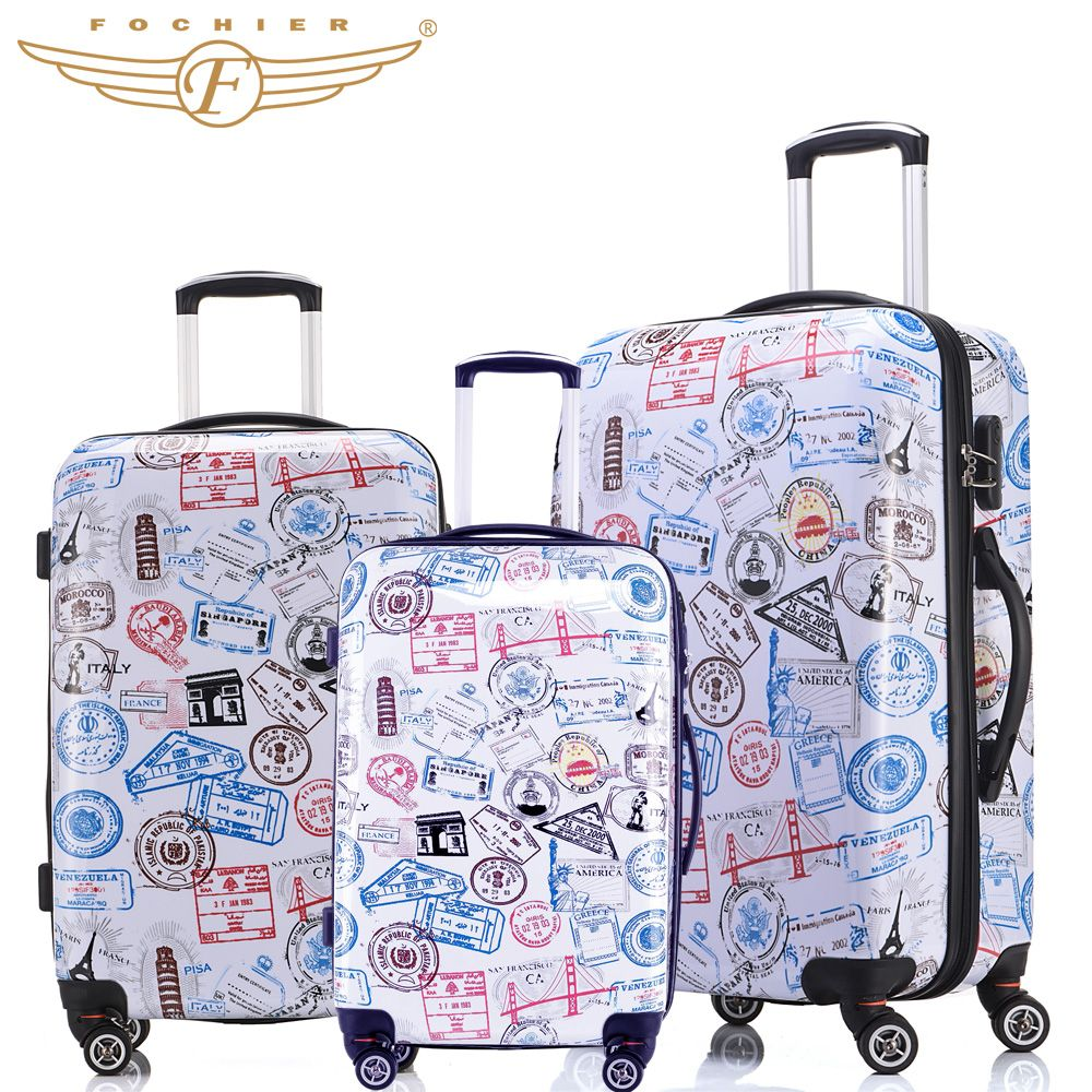 2017 New Trolley Rolling Travel Hardside Luggage Sets 20 24 28 Inches 3 Pieces Set Stamp Print Pc Abs Hardside Luggage Sets Cute Luggage Hard Shell Luggage