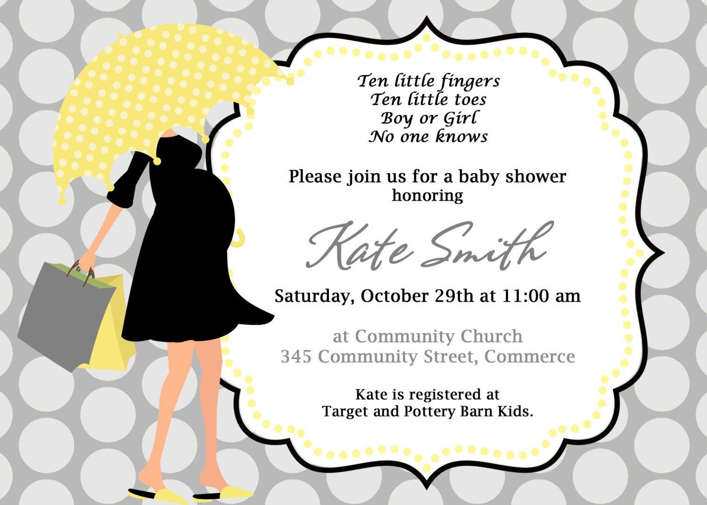 Baby Shower Invitation. Umbrella Invitation. Modern Mom Invite. Baby ...