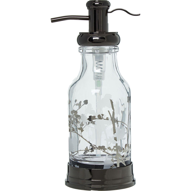 Gunmetal Floral Glass Soap Dispenser - Bathroom Accessories - Bed ...