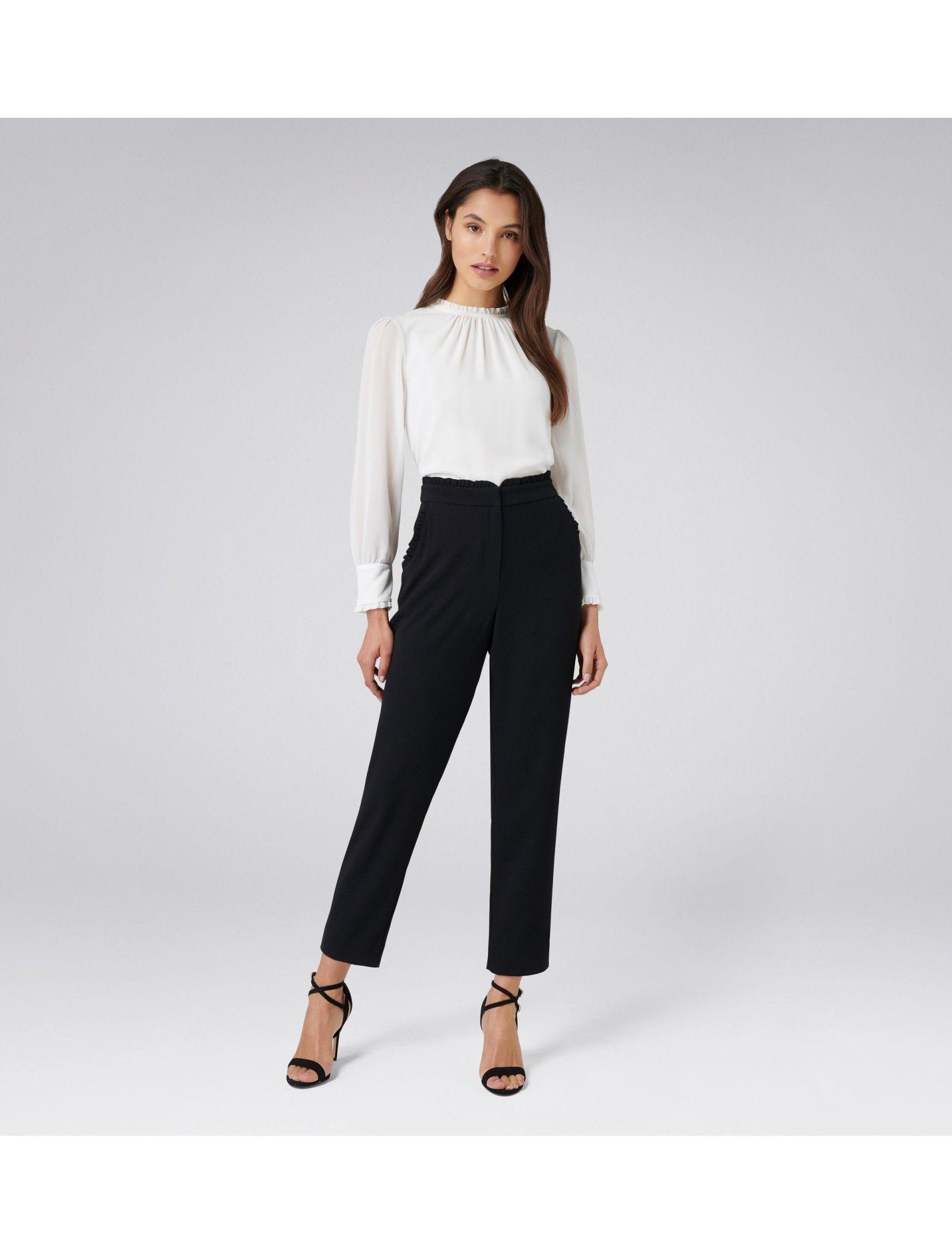 Nellie Frill Pants Black Womens Fashion Forever New Work Wear Women Fashion Workwear Fashion [ 2000 x 1520 Pixel ]