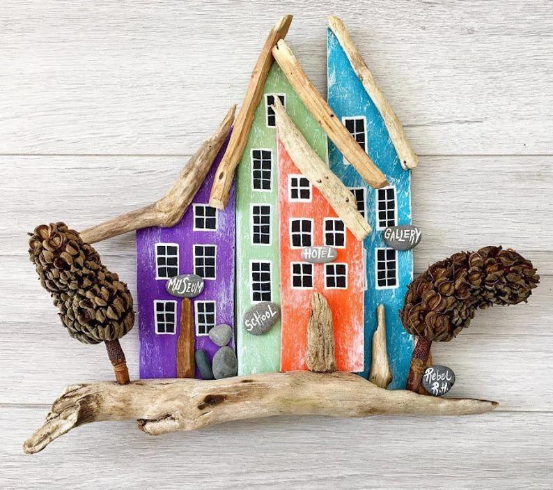 Wohnkultur Wandbehänge Wand-Dekor Miniatur-Häuser Home | Etsy