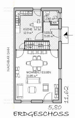 schmaler grundriss mit gerader treppe haus pinterest. Black Bedroom Furniture Sets. Home Design Ideas