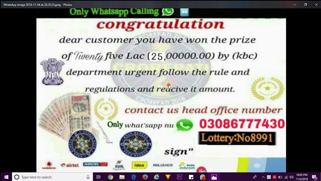 Whatsapp Fake Msg | KBC Lottery Coming From Pakistan Number | you