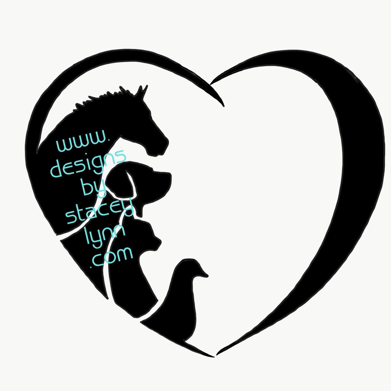 A personal favorite from my Etsy shop https://www.etsy.com/listing/491117347/love-decal-horse-dog-cat-duck