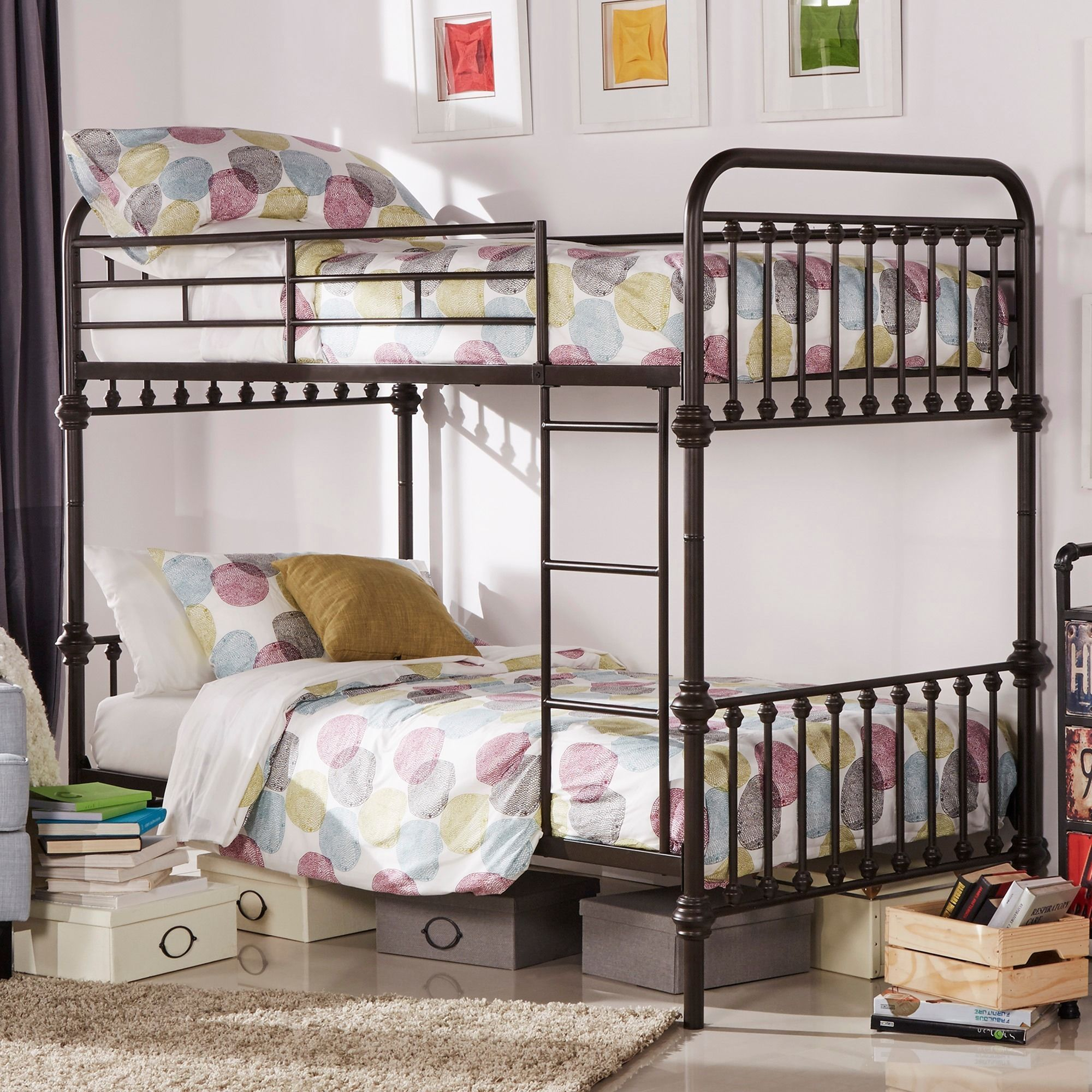 Inspire Q Regency Antique Dark Bronze Graceful Lines Iron Metal Bunk Bed  (Twin Bed Over Twin Bed), Brown. Children Bedroom ...