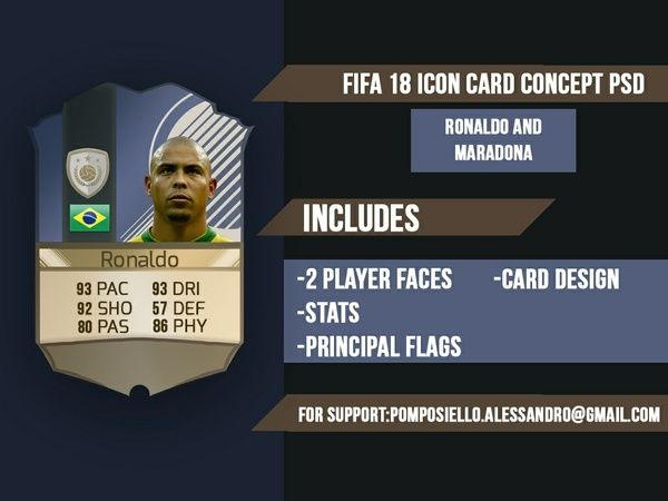 Fifa 18 Icon Concept Card Template Fifa Cards Card Template