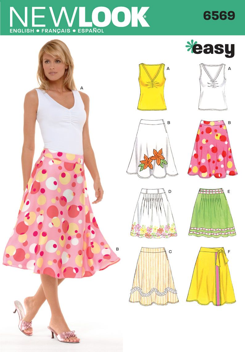 Womens Skirts and Knit Top Sewing Pattern 6569 New Look | sewing ...