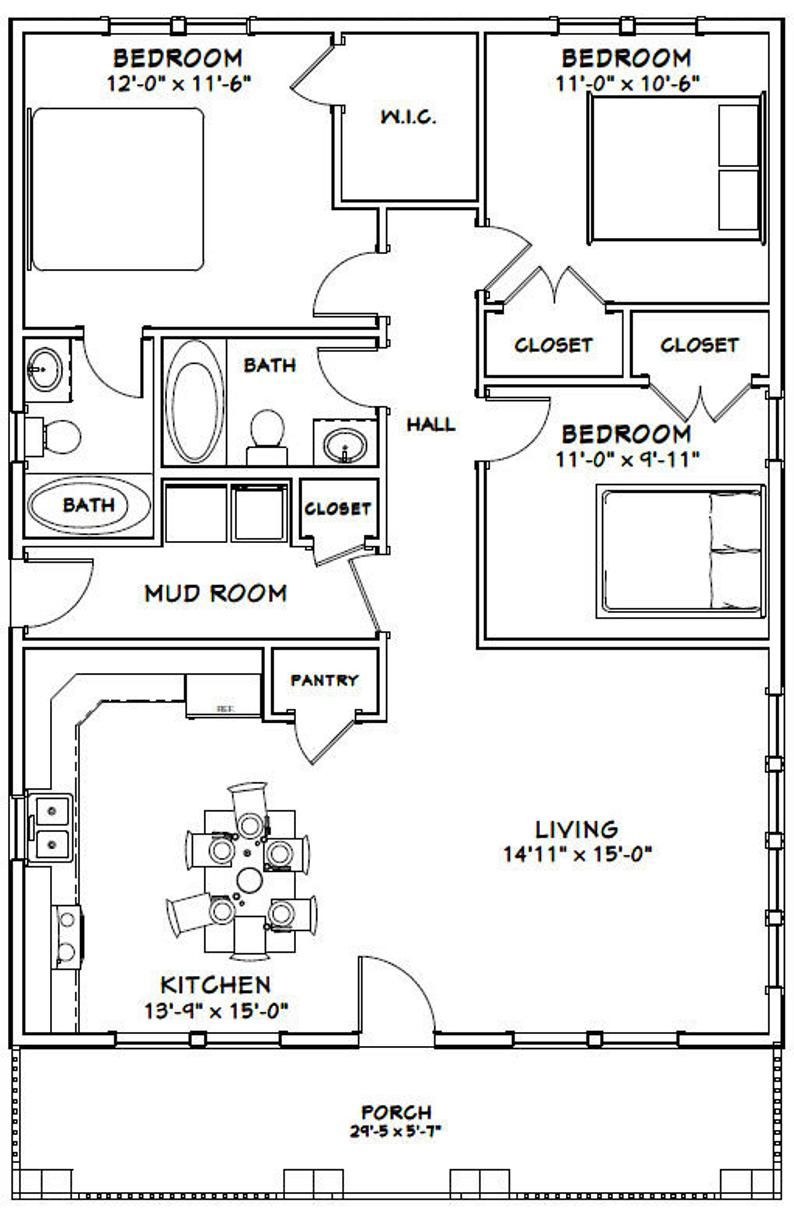 30x40 House 3 Bedroom 2 Bath 1 200 Sq Ft Pdf Floor Plan Instant Download Model 2b Small House Floor Plans House Layout Plans Cabin Floor Plans