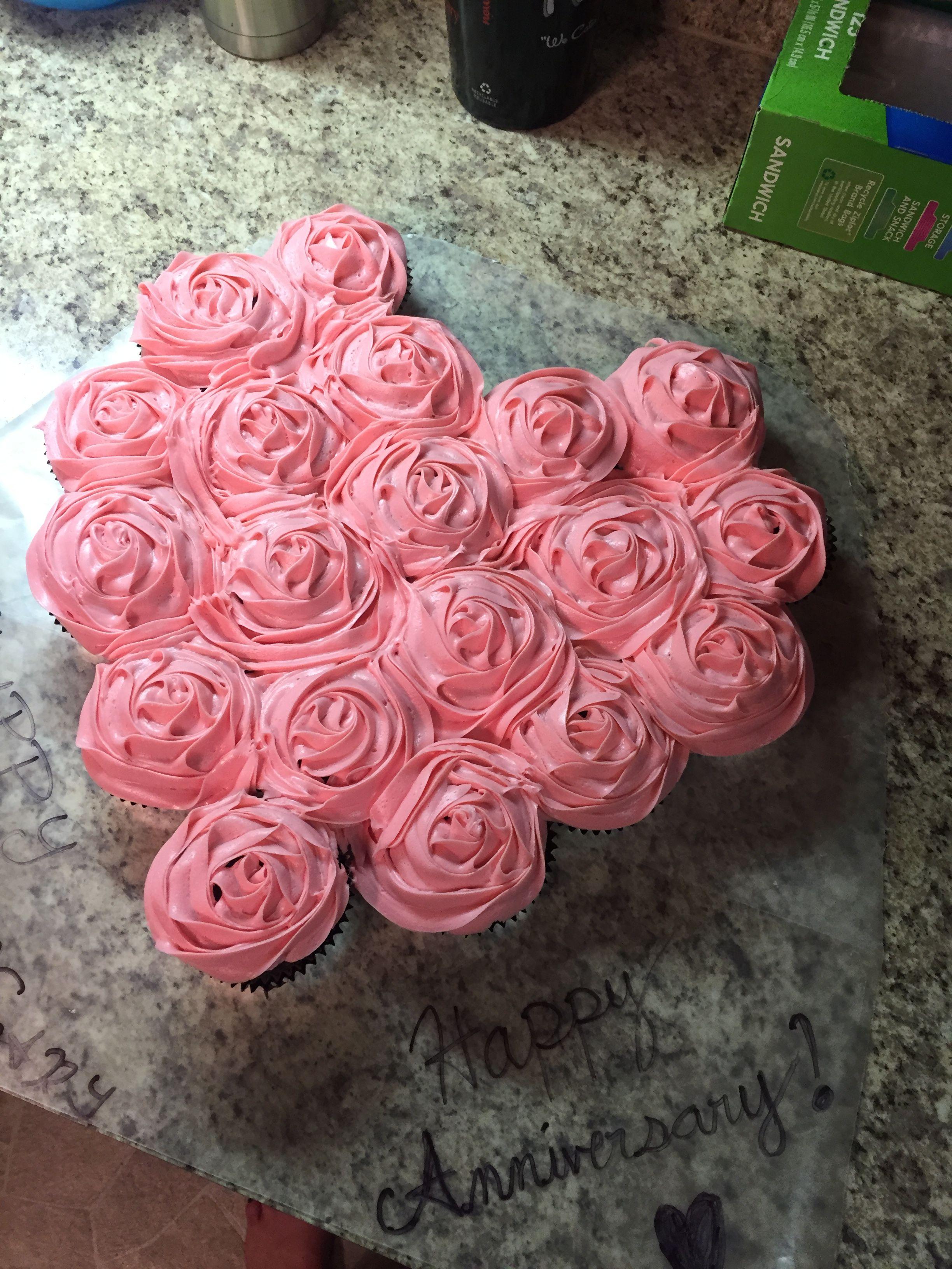 Heart Cupcake Cake Anniversary Valentines Cake Pull Apart