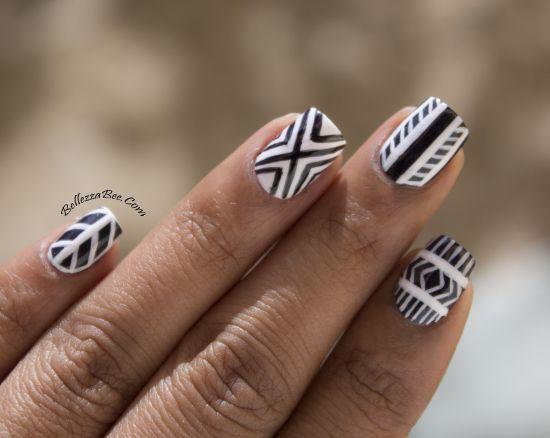 Black white tribal nail art