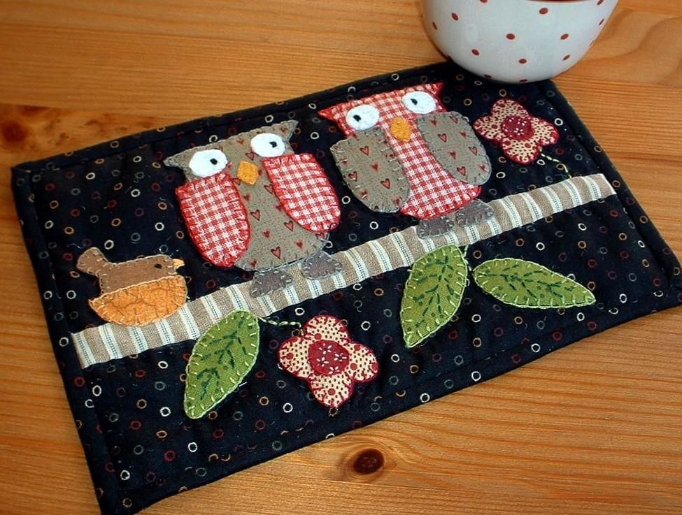 Two Owls Mug Rug Owl Patterns And Patchwork