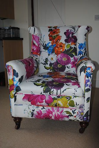1930 S Vintage Armchair Covered In Designers Guild Amrapali