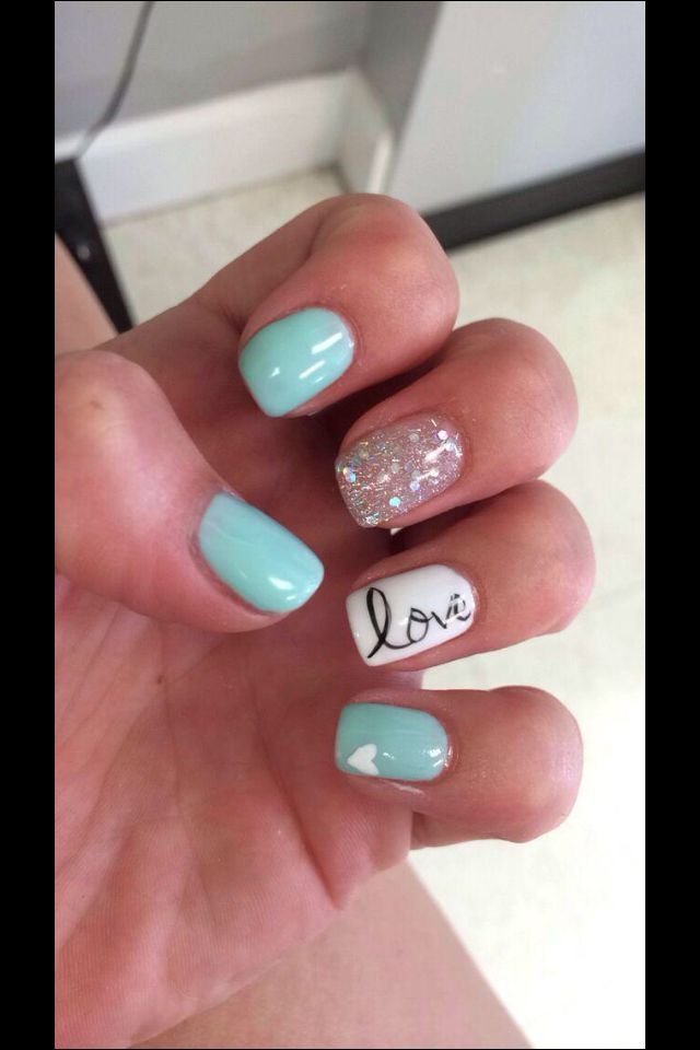Fun Summer Nails Overlay With Images Tiffany Blue Nails Gel