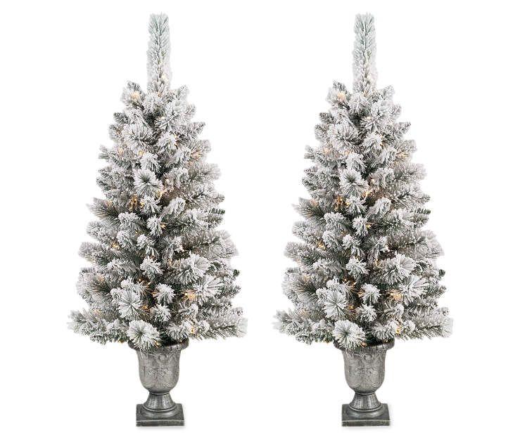 4 Pre Lit Flocked Christmas Urn Trees 2 Pack Big Lots Elegant Christmas Trees Christmas Urns Led Christmas Tree