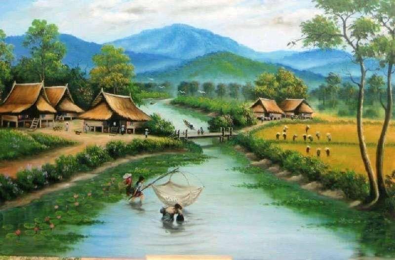 32 Gambar Lukisan Pemandangan Alam Yang Gampang 9 Lukisan Dengan Pemandangan Sawah Era 90 An Ini Bikin Download 99 Di 2020 Pemandangan Kehidupan Pedesaan Gambar