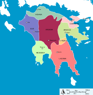 Regions of ancient Greece The Peloponnese or Peloponnesos is a