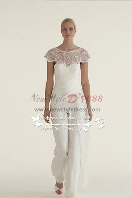 92b115079017 Beautiful Chiffon bridal jumpsuit wedding dresses with delicate hand beaded  cape wps-044