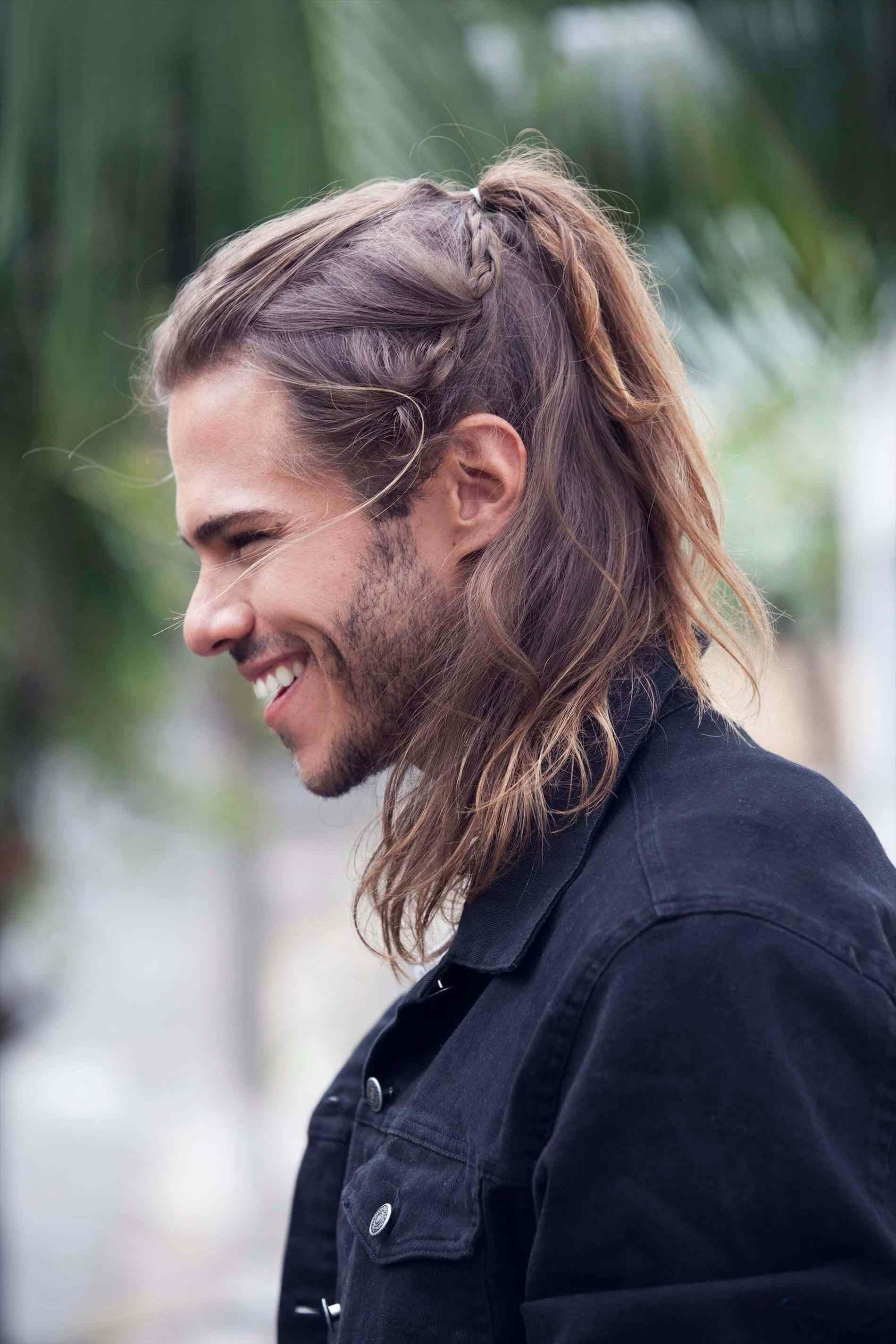 White Men With Braid Hairstyles Trending Fashionterest In 2020 Long Hair Styles Thick Hair Styles Mens Ponytail Hairstyles