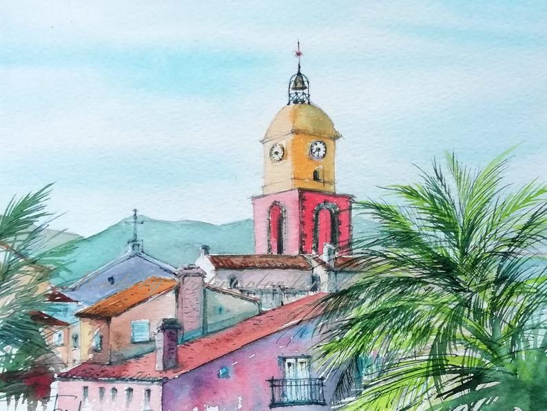 Saint Tropez Ville Aquarelle Peinture Aquarelle Peinture Original