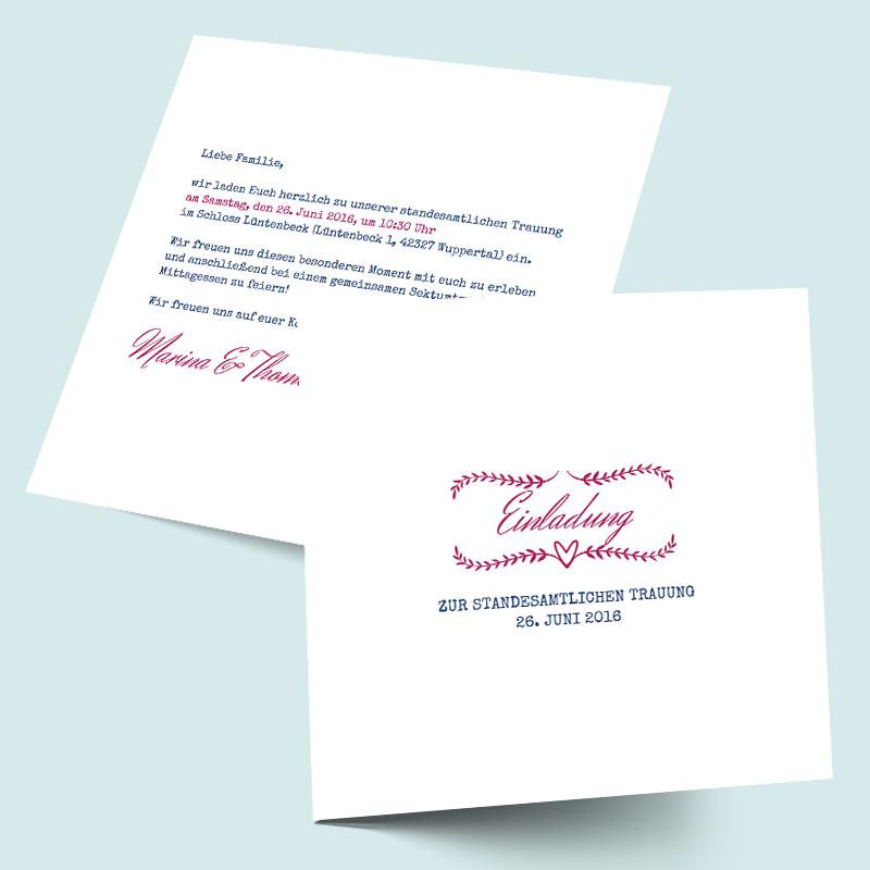 Schlichte & edle Hochzeitskarten Einleger selbst gestalten